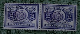 Nice Vintage Set of 2 Used New York Stock Transfer 2 Dollar Stamps, GDC - $3.95