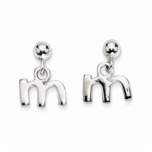 Primary image for Sterling Silver Polished M Dangle Post Earrings, Best Quality Free Gift Box