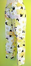 TALBOTS 100% LINEN FLORAL GREEN, WHITE, BLACK & YELLOW CAPRI PANTS SIZE ... - $20.57