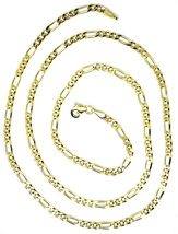 9K GOLD CHAIN FIGARO GOURMETTE ALTERNATE 3+1 FLAT LINKS 3mm, 50cm, 20 INCHES image 4