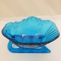 "LARGE 9"" SLEIGH Westmoreland LIGHT BLUE TEAL GLASS Centerpiece Bowl Candy Dish image 3"