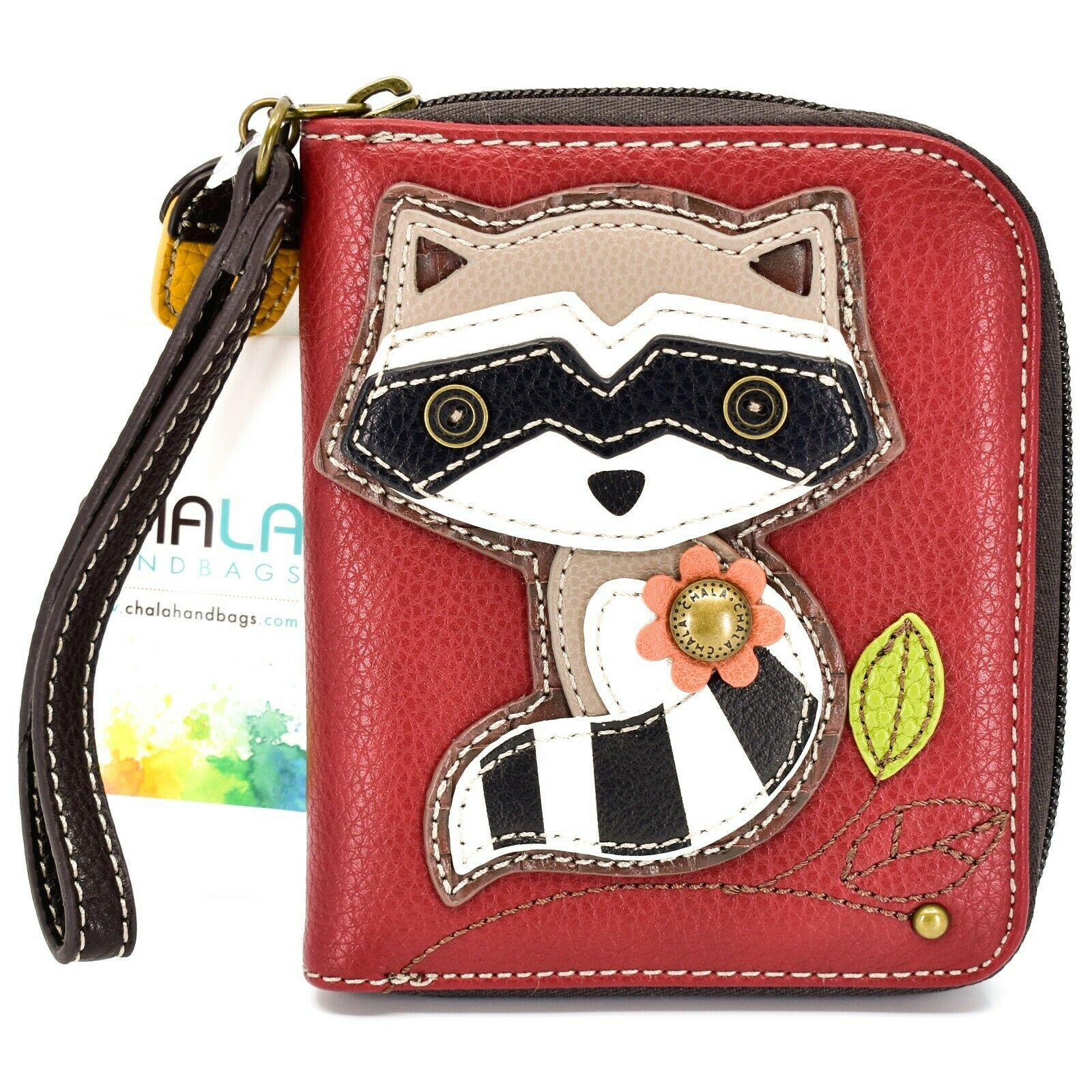 Chala Handbags Faux Leather Maroon Burgundy Raccoon Zip Around Wristlet Wallet