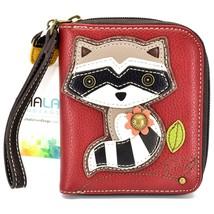 Chala Handbags Faux Leather Maroon Burgundy Raccoon Zip Around Wristlet Wallet image 1