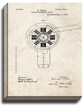 Electro-magnetic Motor Patent Print Old Look on Canvas - $69.95+