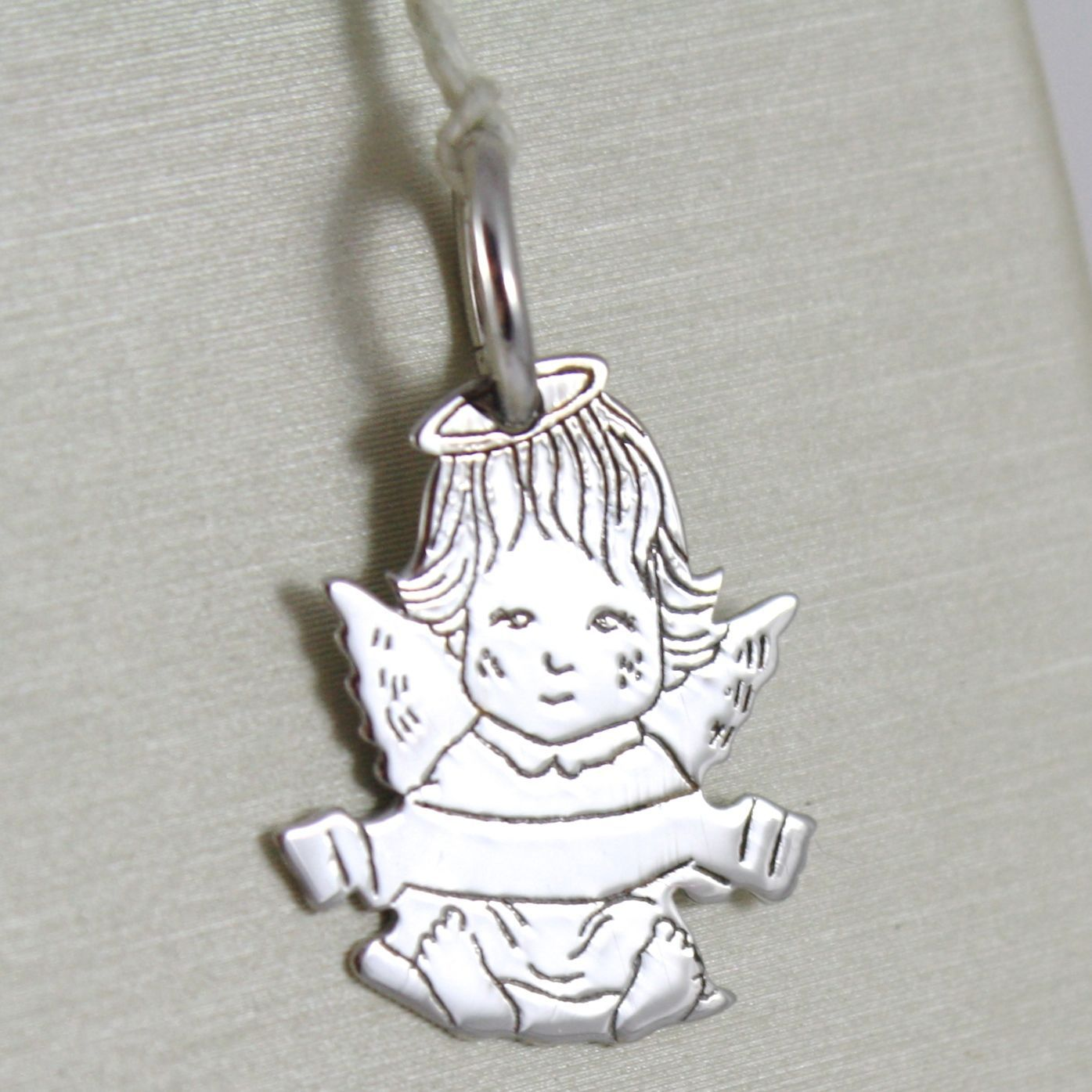 PENDANT WHITE GOLD 750 18K ANGEL GUARDIAN, FEMALE, INCISION NAME PARCHMENT