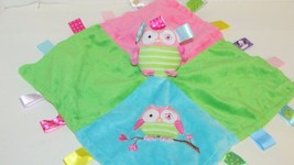 Oodles Owl security blanket Taggies Mary Meyer baby pink blue green satin back - $9.89