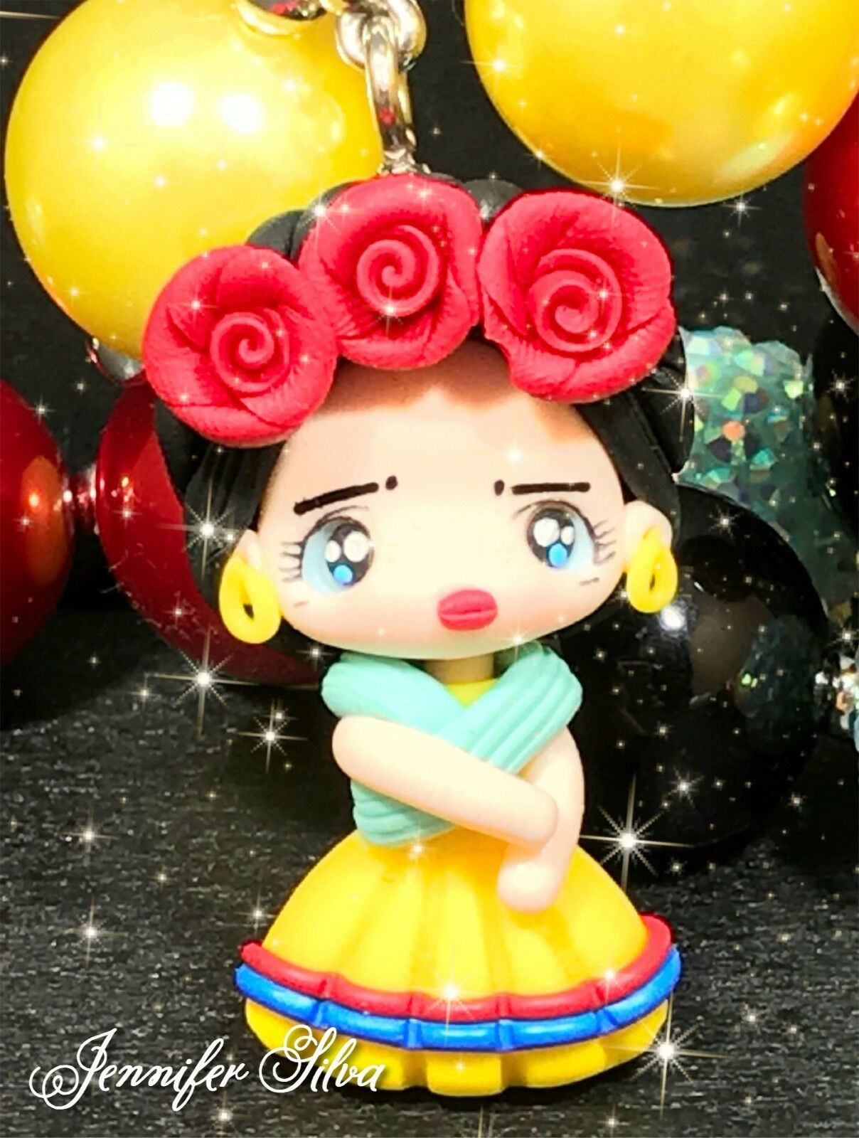Frida Kahlo Clay Chunky Bubblegum Necklace