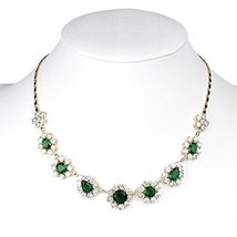United Elegance - Magnificent Floral Inspired Faux Emerald & Swarovski Style Cry - $54.99
