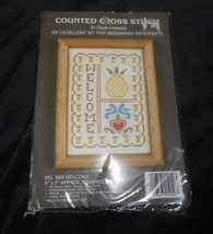 VINTAGE 1985 NICOLE CREATIONS WELCOME PINEAPPLE CROSS STITCH CRAFT KIT 5... - $9.05
