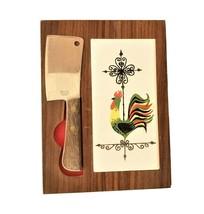Vintage Barlow wood cheese board knife Rooster Weathervane tile Japan - $14.98