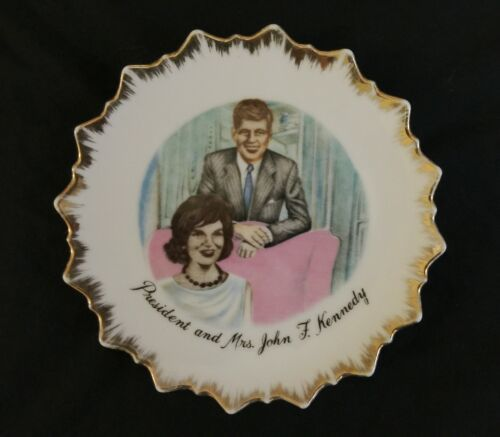 "Vintage JFK John F Kennedy 7"" Collectible Plate Jackie Jacqueline Gold Japan"