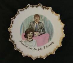 "Vintage JFK John F Kennedy 7"" Collectible Plate Jackie Jacqueline Gold Japan image 1"