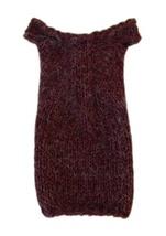 Barbie Doll Clothes Knit  Alpaca Blend Burgundy Off Shoulder Dress Handmade - $6.99