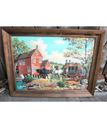 Horse Carriage River Mill Paint by Number Painting - $40.00