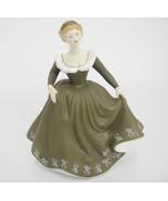 "Royal Doulton Geraldine Figurine HN2348 7.25"" Tall Auburn Hair Green Dress - $32.91"