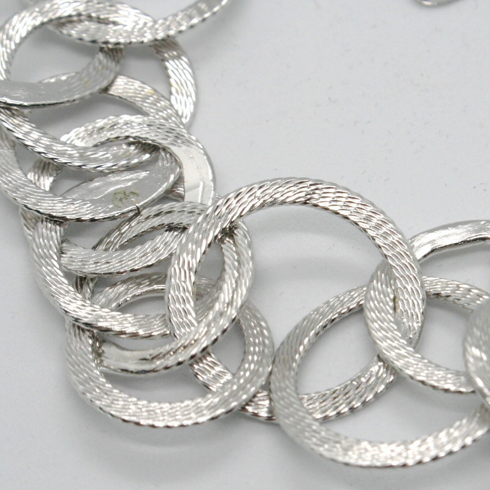 Silver 925 Bracelet with Circles Worked by Mary Jane Ielpo , Made in Italy