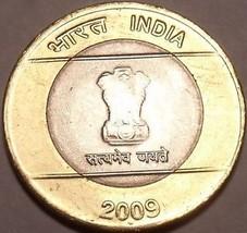Large Unc India Bi-Metal 2009 10 Rupees~Ashoka Column~We Have unc india ... - $4.63