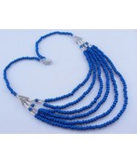 Blue Agate Silver Overlay Beaded Necklace Jewelry 46 Gr. Ms-18-3 - $2.59
