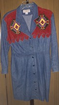 Vintage Adam Douglass Adrianna Papell Denim Southwest Embellished Dress ... - $29.69