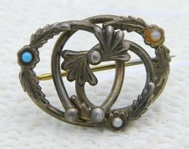 Antique Victorian Gold Filled Faux Pearl Blue Cabochon Love Knot Pin B - $29.70