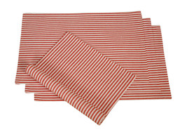 Cotton Placemats Stripes Red & White 4/pack - $15.79