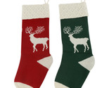 2pk Stocking Heavy Yarn Stocking Holiday Classic Reindeer Christmas Stockings