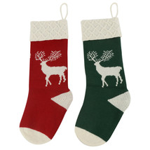 2pk Stocking Heavy Yarn Stocking Holiday Classic Reindeer Christmas Stoc... - $16.99