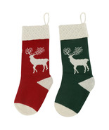 2pk Stocking Heavy Yarn Stocking Holiday Classic Reindeer Christmas Stockings - £12.47 GBP