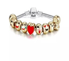 Emoji Charm Bracelet - Yellow Gold Plated Beads - 10 Charms Smiley Face w/Random