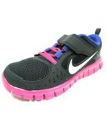 Nike Free Run 3 PSV 512100 004 Little Girls Shoes Running Black Mesh Bla... - $31.49