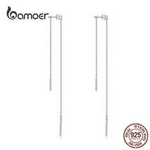 Silver Simple Geometric Chain Earrings 925 Sterling Silver AAA Cubic Zir... - $22.90