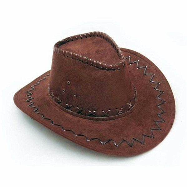 KLV 1Piece Mens Fashion Cowboy Hat Suede Look Wild West Fancy Dress Black Newest