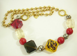 Betsey Johnson Lucite Blocks Leopard Print Red Necklace Long Gold Plate ... - $44.50