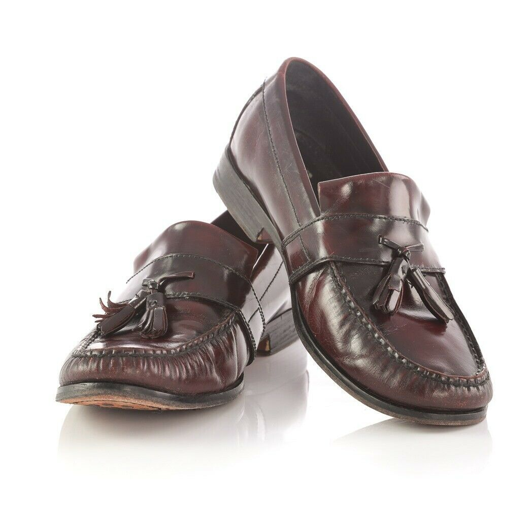 Primary image for Cole Haan Dark Burgundy Leather Tassel Loafers Slip On Shoes Apron Toe Mens 9.5