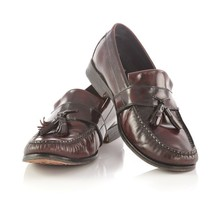 Cole Haan Dark Burgundy Leather Tassel Loafers Slip On Shoes Apron Toe M... - $34.47
