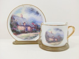 Thomas Kinkade Moonlight Cottage plate cup display stand Teleflora EUC - $21.60