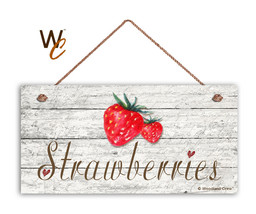 """Strawberries Sign, Rustic Style Garden Sign,  5"""" x 10"""" Wood Fruit Kitchen Sign - $12.87"""