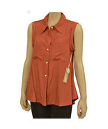 NEW Nordstrom Trinity Two Pocket Collar Sleeveless Women Shirt Top Burnt... - $18.00