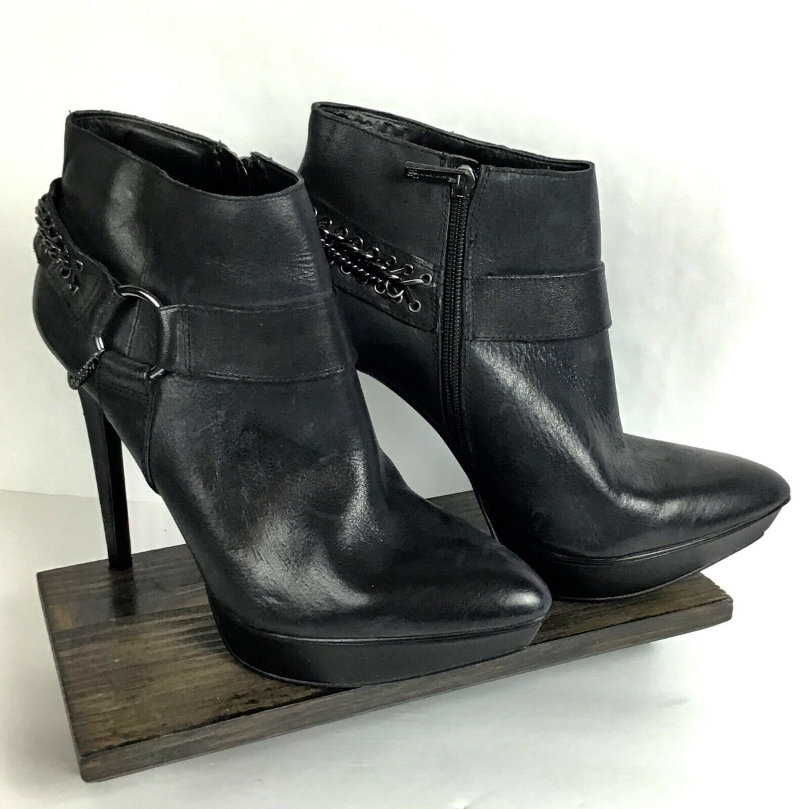 Jessica Simpson Vinata 10M Ankle Bootie Platform Stiletto Heels Chains Side Zip  image 9