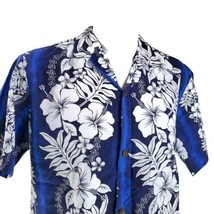 Royal Creations Blue White Hibiscus Large Floral Hawaiian Aloha Shirt - $34.64