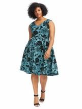 Eva Rose Women Dress Medium ? Blue Floral Velvet Fit And Flare Sleeveles... - $14.43