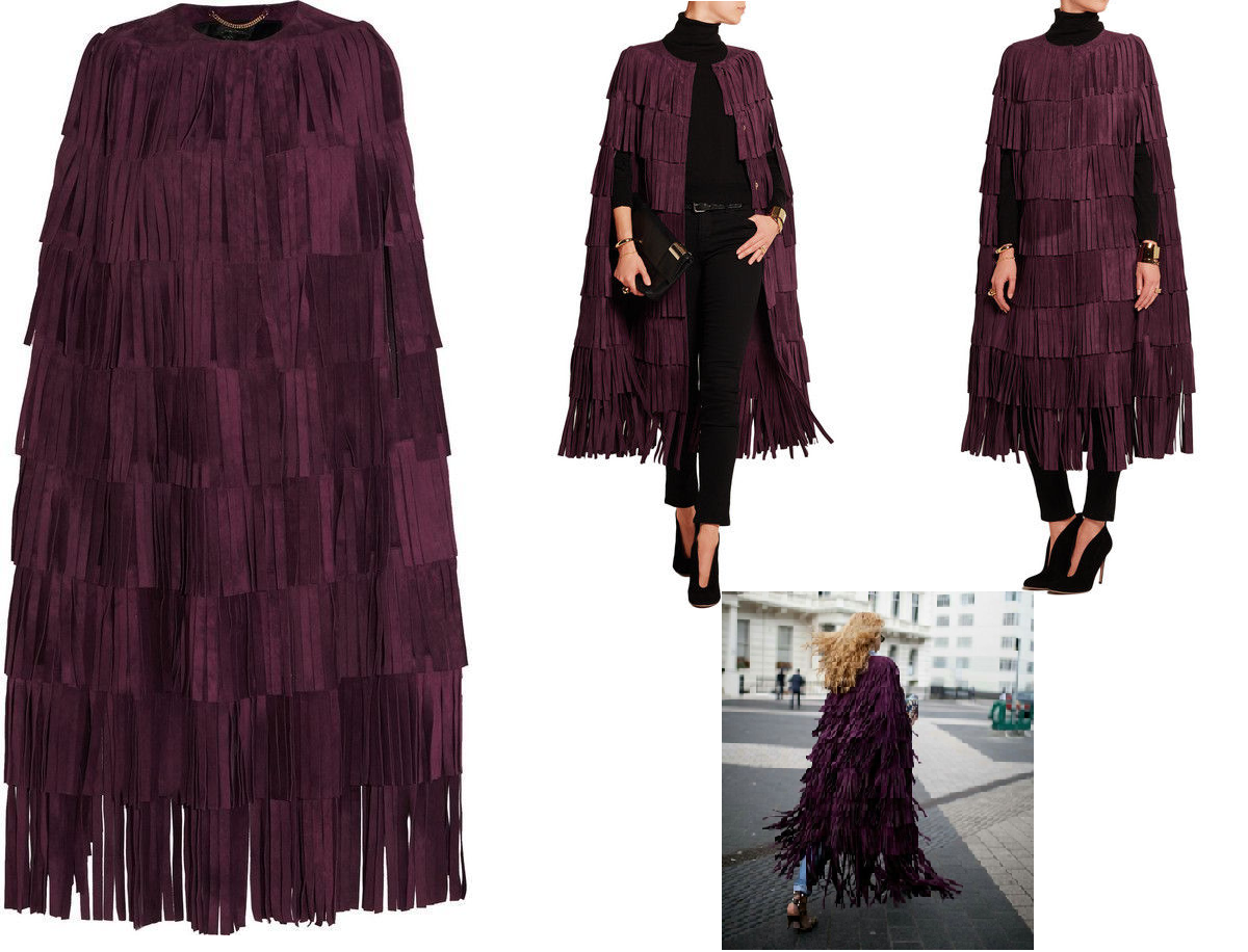 WOMEN'S NEW IN FASHION FRINGES SUEDE LEATHER CAPE PONCHO BOHO HIPPY SHAWL WC132 image 3