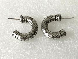 """Vintage BYZANTINE Style Silver Tone Hoop Pierced Earrings 7/8"""" D - $16.65"""