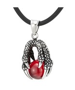 Red Ball Vintage Dragon Claw Pendant Necklace for Man for Boys Stainless... - $49.99