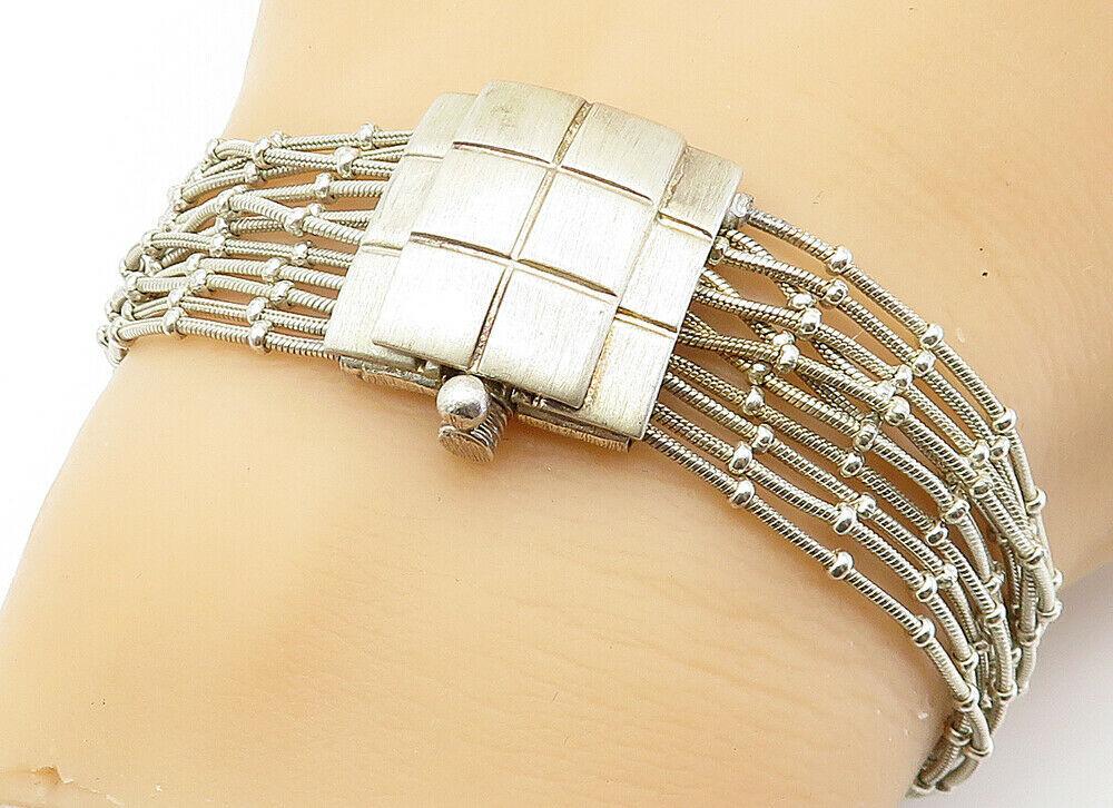 925 Sterling Silver - Vintage Multi-Strand Checkered Chain Bracelet - B6001