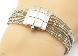 925 Sterling Silver - Vintage Multi-Strand Checkered Chain Bracelet - B6001 image 1