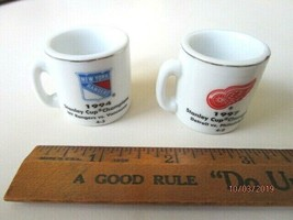 NHL Crazy Mini Mugs Detroit Red Wings/NY Rangers Stanley Champions '97,'... - $9.46
