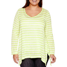 a.n.a Long Sleeve V Neck Stripe Shirt Size 0X Msrp $40.00 New Green/White - $12.99