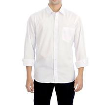 Men's Classic White Long Sleeve Button Up Casual Dress Shirt w/ Defect - M