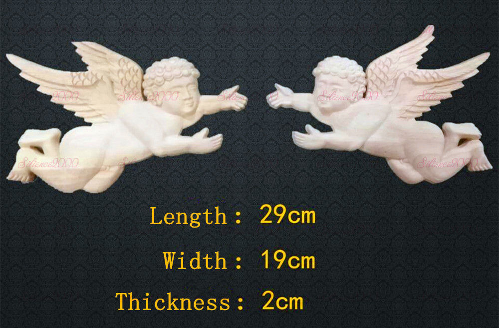Primary image for A Pair of Angel Baby Wood Carved Onlay Applique Unpainted Frame Decal Decor